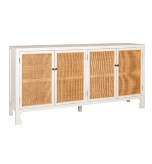 Dax Four Door Sideboard, Distressed White 72.83x15.75x35.04