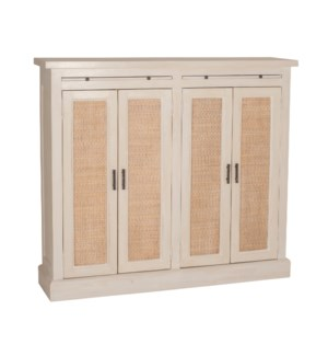 Camden Tall 2 Door Cabinet with Rattan Inset (51x12x45)