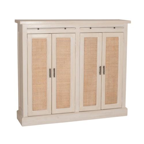 Camden Tall 2 Door Cabinet with Rattan Inset (51x12x45)