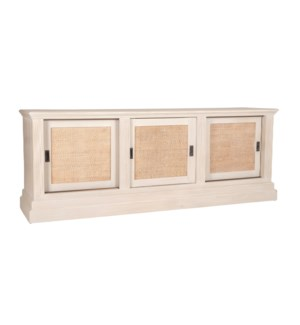 Charlotte 3 Door Sideboard with Rattan Inset, White and Natural (83x20x31.5)