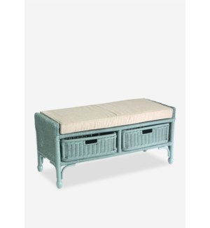 (50% Off*) Seaview storage Bench with 2 drawers - Sky Blue