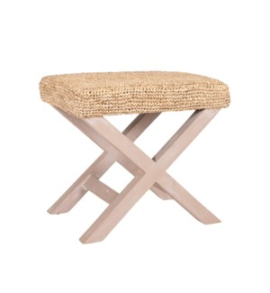 "20"" H X-Style Ottoman with Raffia - Cream"