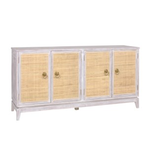 Calista 4 Door Acacia and Cane Sideboard-White Wash
