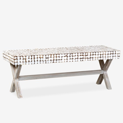 Bayside Bench with X-Base (K/D) - White Patina
