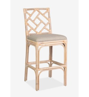 (LS) Hampton Chippendale Barstool White Wash Cream Taupe Cushion..(19.7x20.9x44.9)