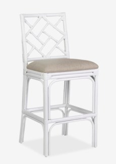 Hampton Chippendale Counterstool White  -- Cream Taupe Cushion..(19.7x20.9x40.9)