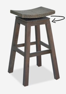 (LS) Swivel Barstool with Natural Rattan Top In Grey Wash Frame..(17x17x29.5)