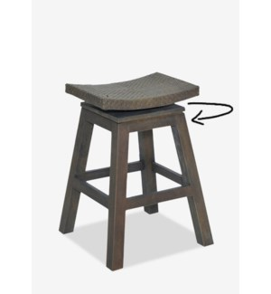 (LS) Swivel Counterstool with Natural Rattan Top in Grey Wash Frame..(17x17x24)