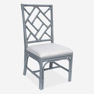 (SP) Hampton Chippendale Rattan Side Chair  Grey  - Cream Taupe Cushion - MOQ 2(19X22X39)