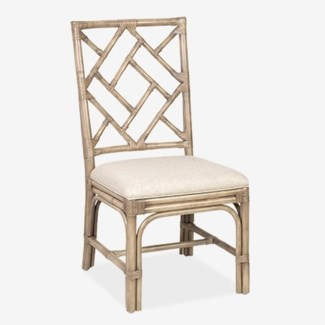 Hampton Chippendale Rattan Side Chair  Grey Wash  - Cream Taupe Cushion (2 PCS PER BOX)(19X22X39)