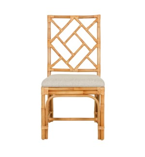 Hampton Chippendale Side Chair  Natural Rattan  - Cream Taupe Cushion - MOQ 2(19X22X39) (package: