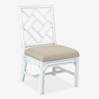 Hampton Chippendale Rattan Side Chair  White  - Cream Taupe Cushion - MOQ 2(19X22X39)