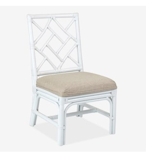 Hampton Chippendale Rattan Side Chair  White  - Cream Taupe Cushion - MOQ 2(19X22X39) (package: 2pc