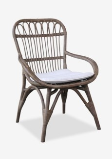 (LS) Cabello Vintage Grey Rattan Dining Chair with Cream Cushion..(25.5x27x38)..