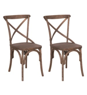 Lowry Dining Chairs (Set of 2) - Antique Brown - (20X35X21) (package: 2pcs/box) priced per pair
