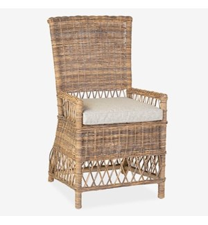Eastport Dining Chair With Natural Grey Rattan