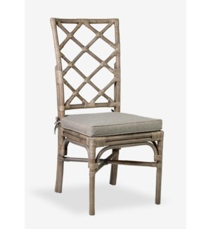 Pembroke Rattan Side Chair With A Repeat Diamond Pattern In A Grey Wash Finish-MOQ 2 (19x22x41)