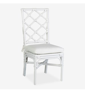 Pembroke Rattan Side Chair With A Repeat Diamond Pattern In A White Solid Finish- MOQ: 2 (package: 2