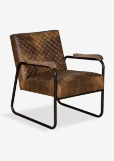 (SP) Gabriel Faux Leather Arm Chair with Diamond Stiched Pattern And Metal Arm (23x28x31)
