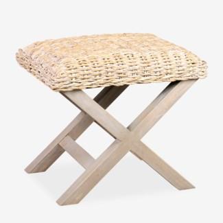 """(SP) 20"""" H X-stool bench with natural fiber..(24x18x20)"""