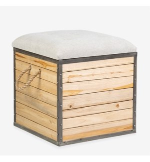 "(LS) 19"" Padded Square Wooden Stool with Storage..(19x19x20)"