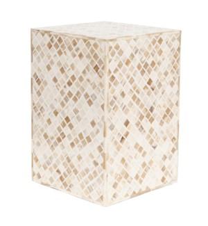 Tabla Rectangle Stool, White (17.5x17.5x23)