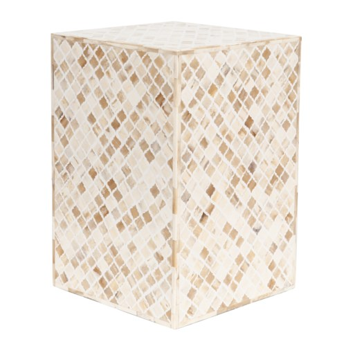 Tabla Rectangle Inlay Stool, White