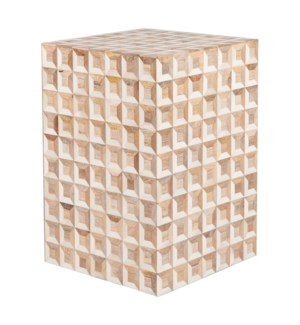 Tabla Square Stool 3D Pattern, White/Wood  (17.5x17.5x23)