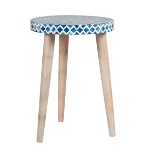 Pestle Round Table with Leg, Blue/White