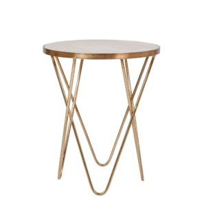 Klip Round Marble Top Accent Table, Antique Brass