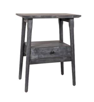 Skol One Drawer Mango Wood Side Table, Matte Black