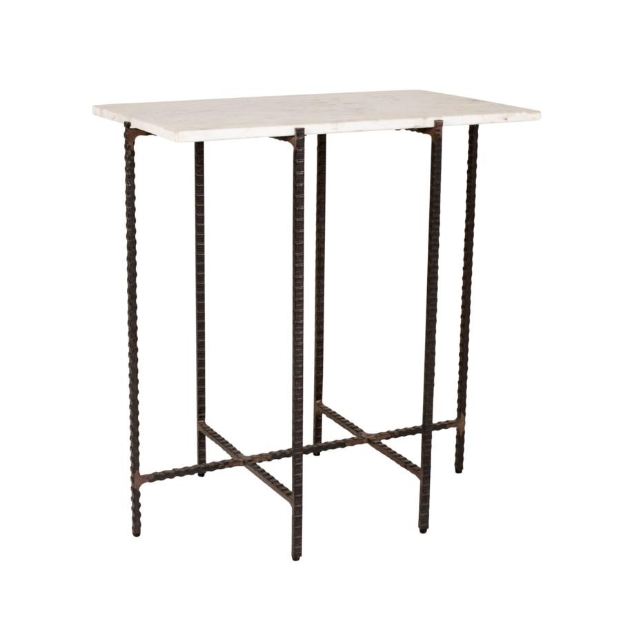 Riley Rectangular Marble Side Table, White