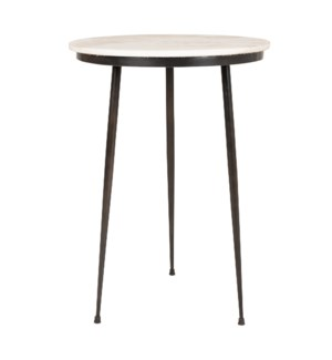 "Rigby 17"" Round Marble Side Table, White/Iron"