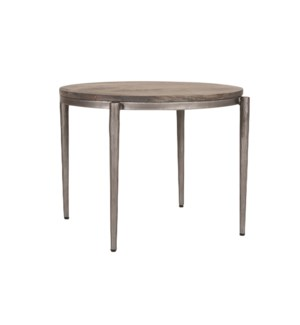 "Walker 20"" Round Accent Table, Black Iron Frame/Grey Patina Wood Top"