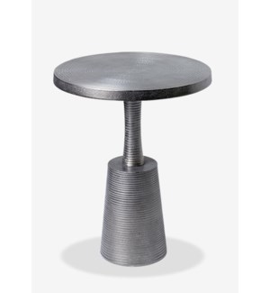(LS) Blk Nickel Finished Metal Anvil Side Table (15.25x15.25x19.75)