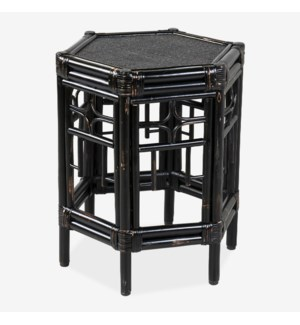 Wren Chippendale Rattan Side Table, Black