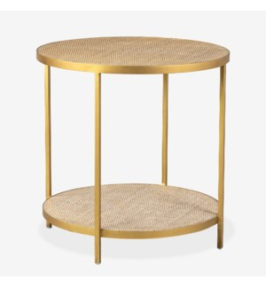 Cerise Round Side Table, Bronze and Tan