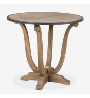 "33"" Lotus Pedestal Accent Table, Brown"