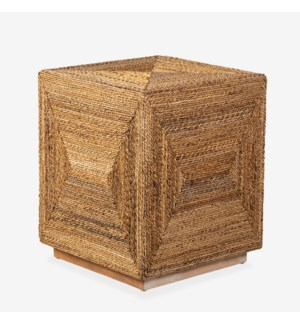 Soren Braided Seagrass Cube Accent Table, Natural