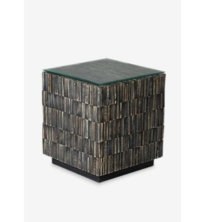 (LS) Desoto Side Table with Reclaimed Teak Tiles (16.5x16.5x18.5)
