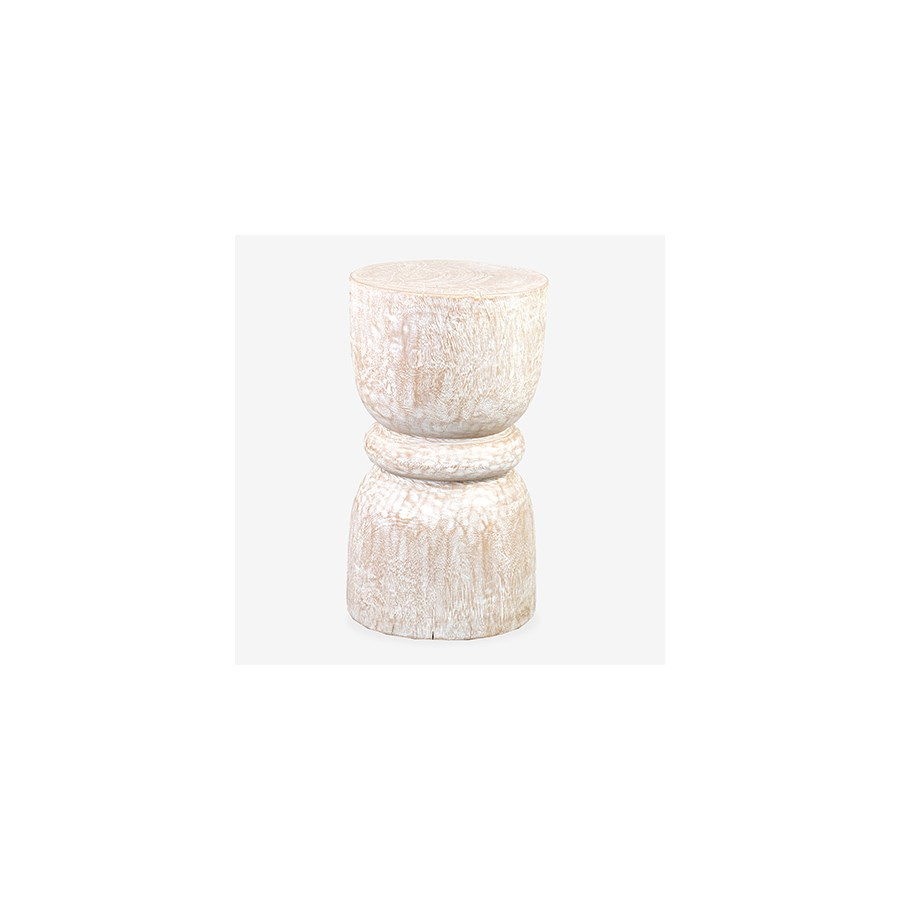Marlowe Hourglass Stool - White Wash