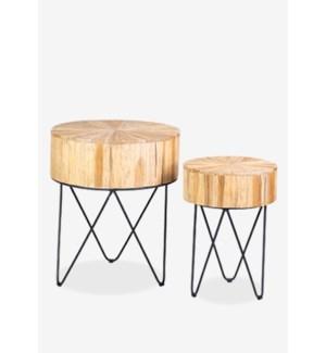 Kent sunburst top accent table set-2 with iron base (20x20x24 / 14x14x20)