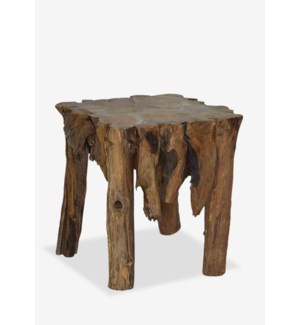 "(LS) 22""H Fringe round antique teakwood side table..Dimension: 24X24X22"