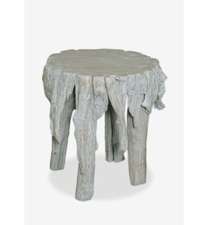 "(LS) 18""H Fringe Round Antique Teakwood Stool In White Wash (17x17x18)"