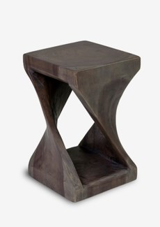 (SP) Riley Side Table Twist Design In Grey Wash (12x12x24)