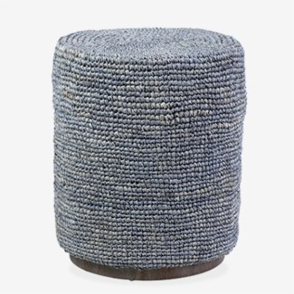 Surfside round ottoman/ table -- gray (15.7x15.7x18.5)