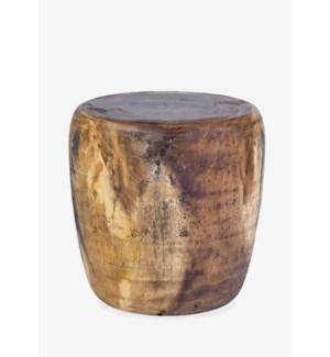 Newcomb Organic wood drum ottoman - natural