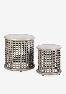 (LS) Open weave nesting side table set-2 - vintage grey, Small : 15.25x15.25x15.75    Big : 19.7...