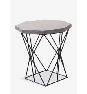 "(LS) 24"" Polygon Wood Top Side Table and Metal Base (22X22X24)"