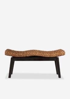 Sanibel Double Bench  (woven top, mahogany frame) (39x14x18) ,